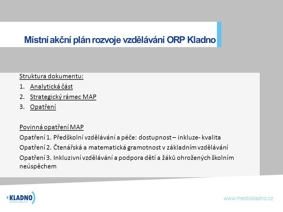 Místní akční plán rozvoje vzdělávání ORP Kladno Struktura dokumentu: 1.Analytická část 2.Strategický rámec MAP 3.Opatření Povinná opatření MAP Opatřen
