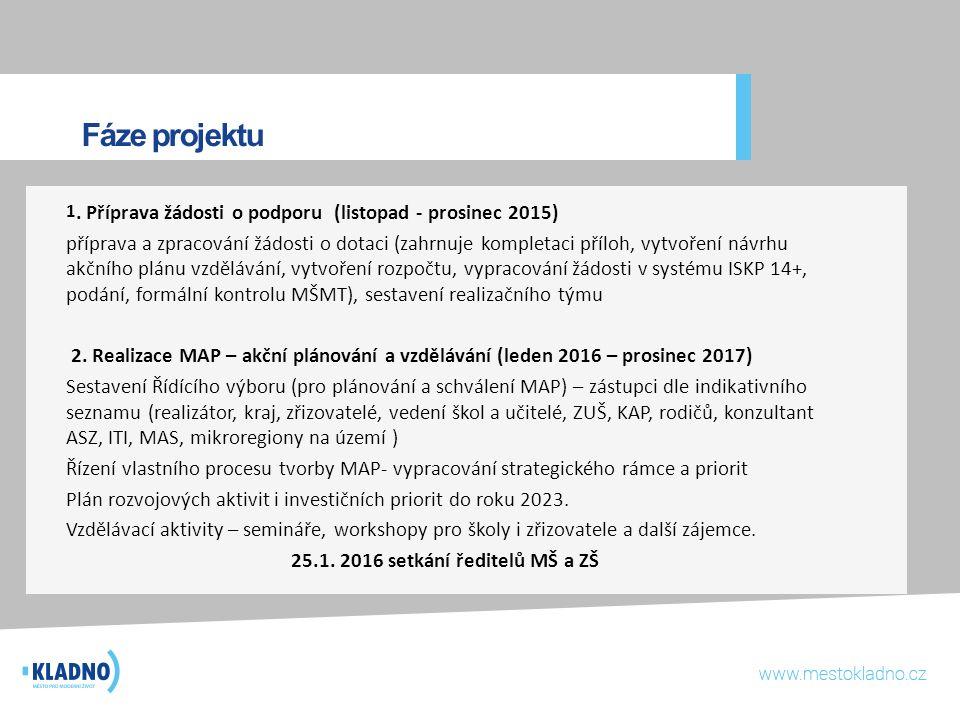 Fáze projektu 1. Příprava žádosti o podporu (listopad - prosinec 2015) příprava a zpracování žádosti o dotaci (zahrnuje kompletaci příloh, vytvoření n
