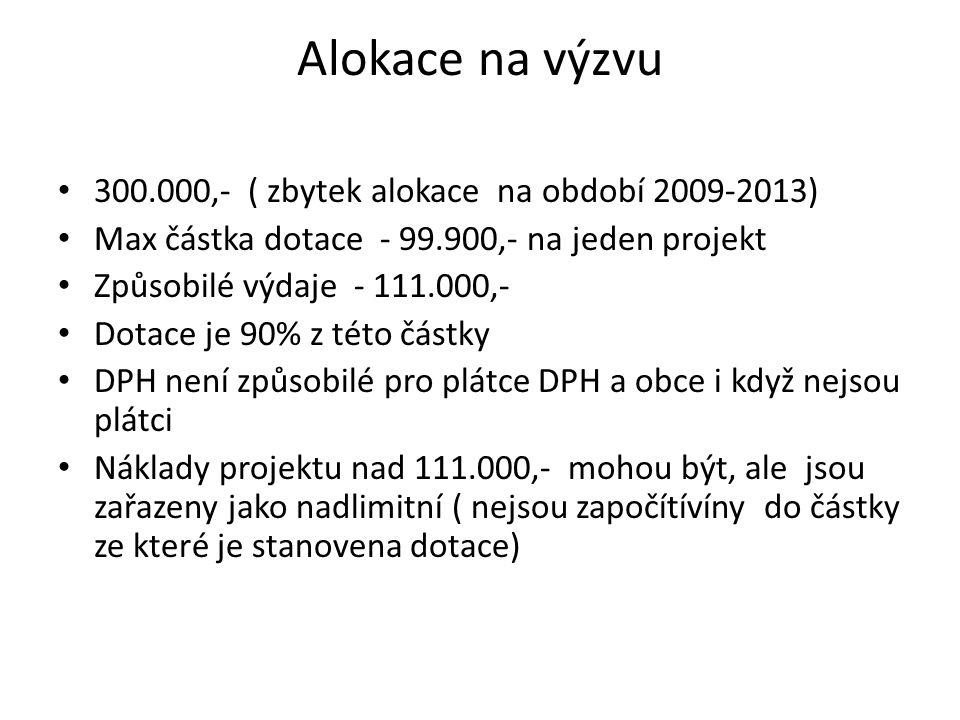 Alokace na výzvu 300.000,- ( zbytek alokace na období 2009-2013) Max částka dotace - 99.900,- na jeden projekt Způsobilé výdaje - 111.000,- Dotace je