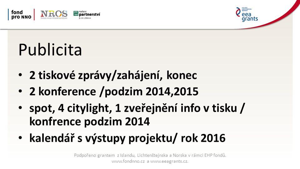 Publicita 2 tiskové zprávy/zahájení, konec 2 konference /podzim 2014,2015 spot, 4 citylight, 1 zveřejnění info v tisku / konfrence podzim 2014 kalendář s výstupy projektu/ rok 2016 Podpořeno grantem z Islandu, Lichtenštejnska a Norska v rámci EHP fondů.