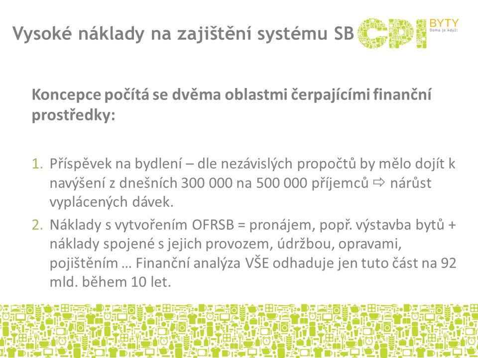 Koncepce počítá se dvěma oblastmi čerpajícími finanční prostředky: 1.Příspěvek na bydlení – dle nezávislých propočtů by mělo dojít k navýšení z dnešní