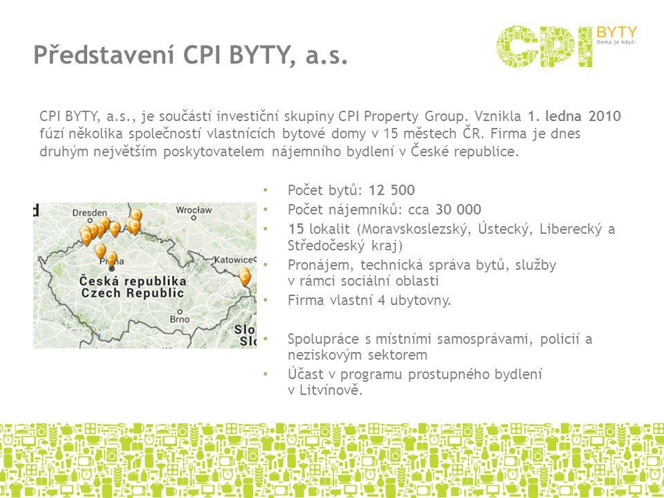 Počet bytů: 12 500 Počet nájemníků: cca 30 000 15 lokalit (Moravskoslezský, Ústecký, Liberecký a Středočeský kraj) Pronájem, technická správa bytů, sl