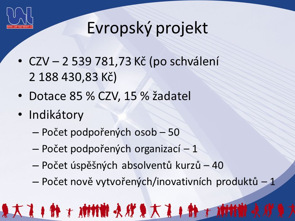 Evropský projekt CZV – 2 539 781,73 Kč (po schválení 2 188 430,83 Kč) Dotace 85 % CZV, 15 % žadatel Indikátory – Počet podpořených osob – 50 – Počet podpořených organizací – 1 – Počet úspěšných absolventů kurzů – 40 – Počet nově vytvořených/inovativních produktů – 1