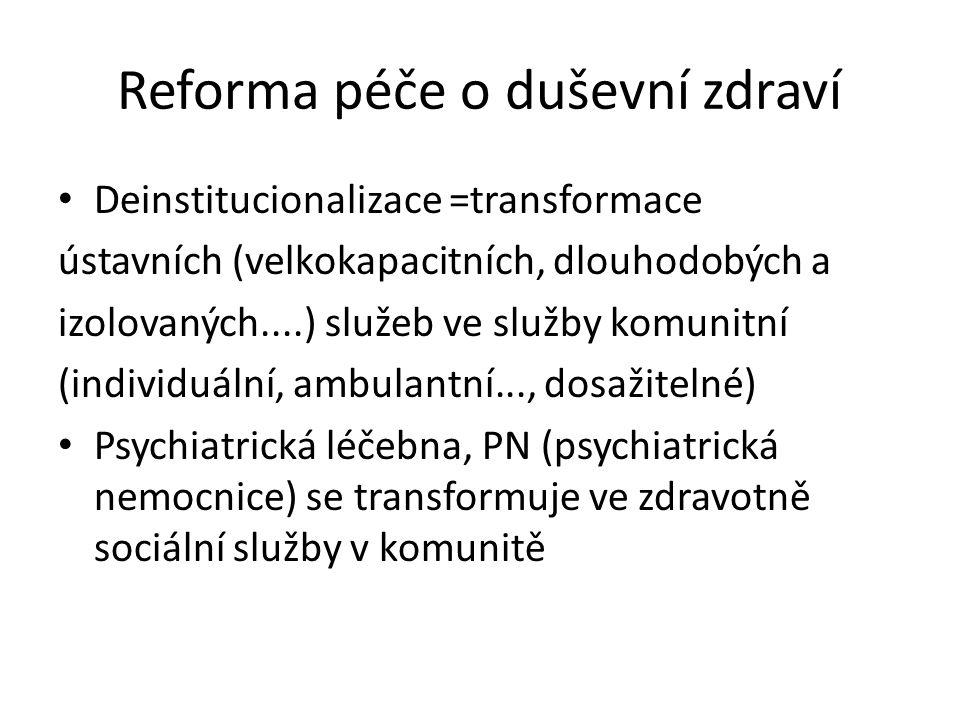 Reforma péče o duševní zdraví Deinstitucionalizace =transformace ústavních (velkokapacitních, dlouhodobých a izolovaných....) služeb ve služby komunitní (individuální, ambulantní..., dosažitelné) Psychiatrická léčebna, PN (psychiatrická nemocnice) se transformuje ve zdravotně sociální služby v komunitě