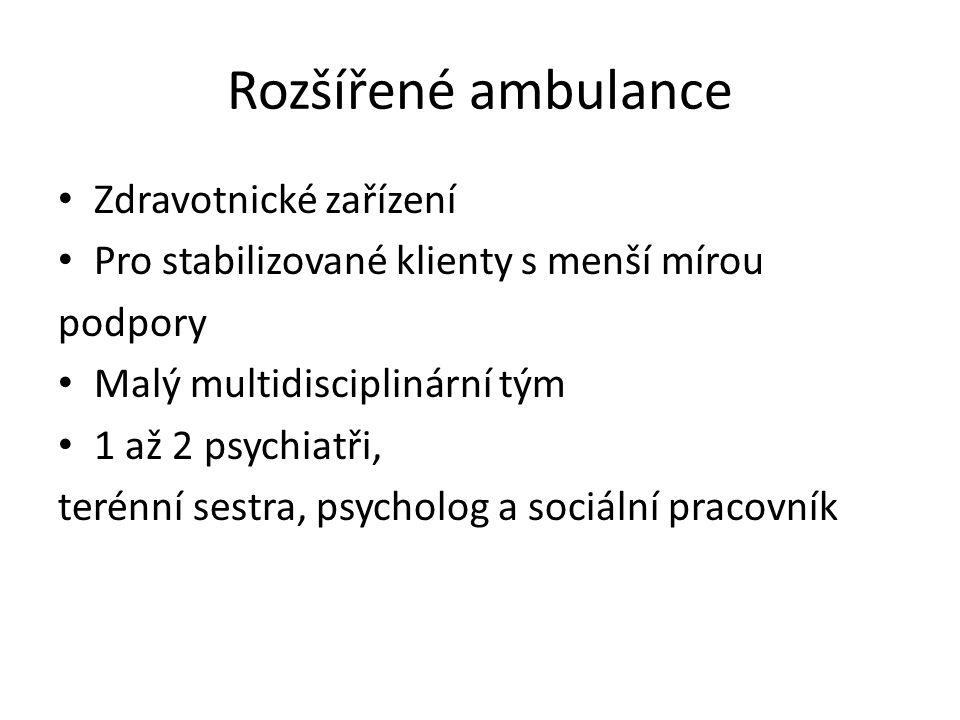 Rozšířené ambulance Zdravotnické zařízení Pro stabilizované klienty s menší mírou podpory Malý multidisciplinární tým 1 až 2 psychiatři, terénní sestra, psycholog a sociální pracovník