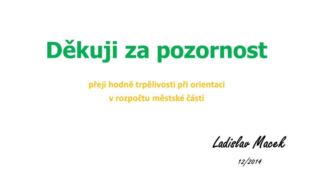Děkuji za pozornost přeji hodně trpělivosti při orientaci v rozpočtu městské části Ladislav Macek 12/2014