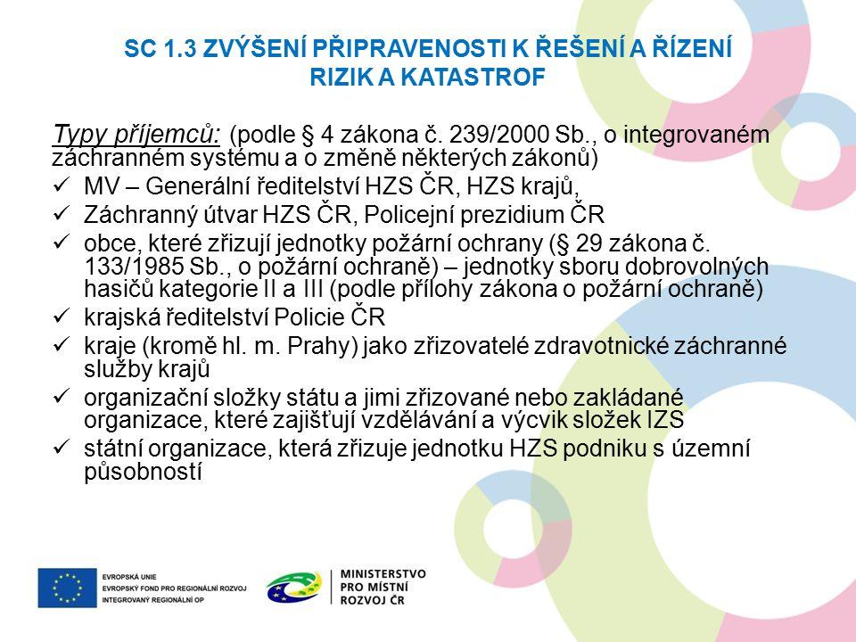 SC 1.3 ZVÝŠENÍ PŘIPRAVENOSTI K ŘEŠENÍ A ŘÍZENÍ RIZIK A KATASTROF Typy příjemců: (podle § 4 zákona č. 239/2000 Sb., o integrovaném záchranném systému a
