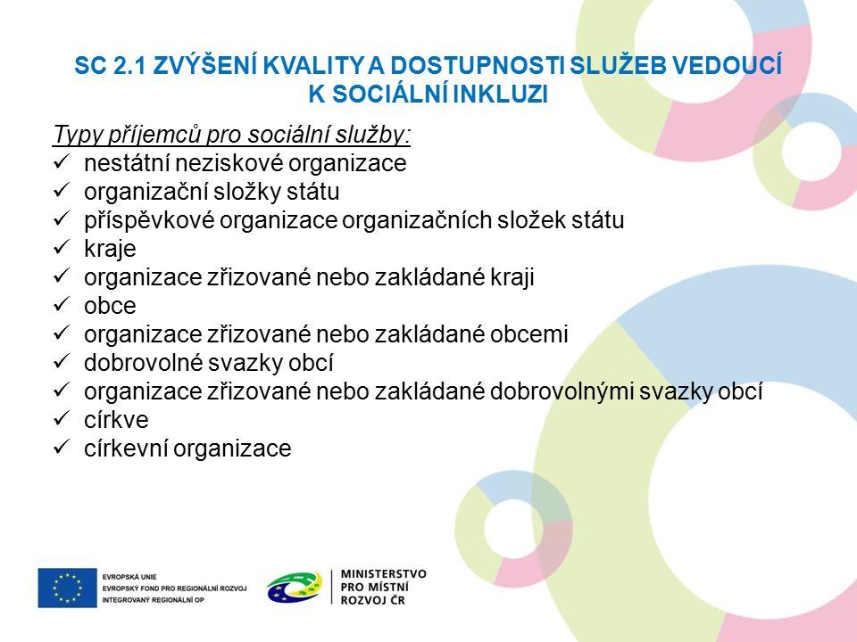 SC 2.1 ZVÝŠENÍ KVALITY A DOSTUPNOSTI SLUŽEB VEDOUCÍ K SOCIÁLNÍ INKLUZI Typy příjemců pro sociální služby: nestátní neziskové organizace organizační sl