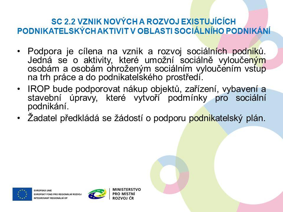 SC 2.2 VZNIK NOVÝCH A ROZVOJ EXISTUJÍCÍCH PODNIKATELSKÝCH AKTIVIT V OBLASTI SOCIÁLNÍHO PODNIKÁNÍ Podpora je cílena na vznik a rozvoj sociálních podniků.