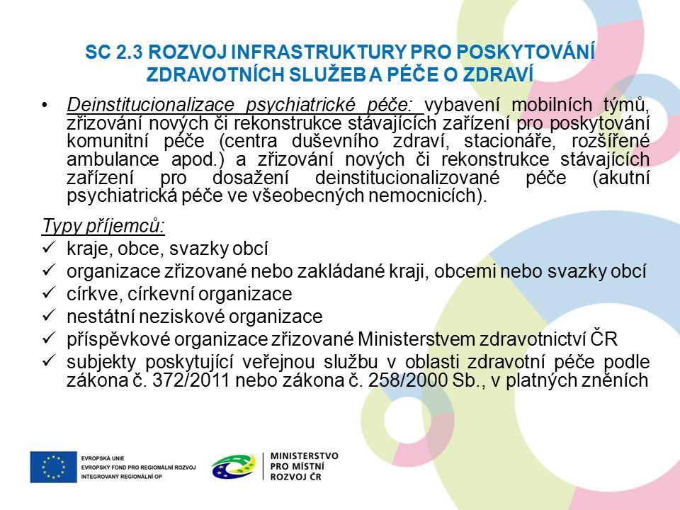 SC 2.3 ROZVOJ INFRASTRUKTURY PRO POSKYTOVÁNÍ ZDRAVOTNÍCH SLUŽEB A PÉČE O ZDRAVÍ Deinstitucionalizace psychiatrické péče: vybavení mobilních týmů, zřiz