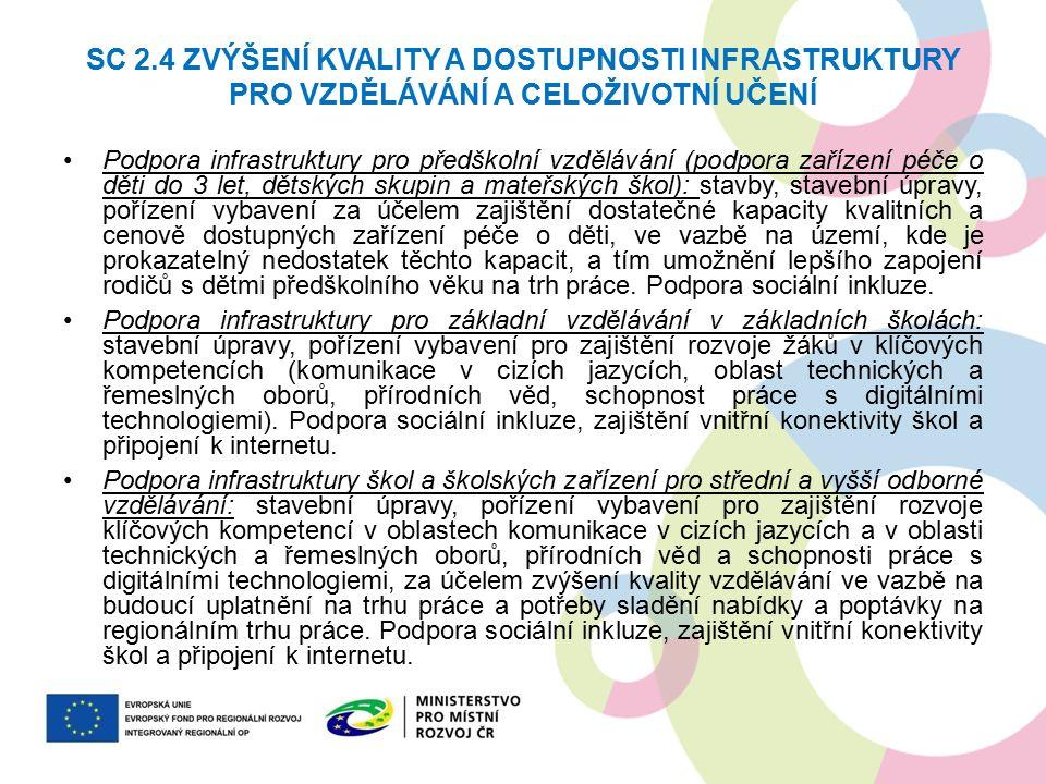 SC 2.4 ZVÝŠENÍ KVALITY A DOSTUPNOSTI INFRASTRUKTURY PRO VZDĚLÁVÁNÍ A CELOŽIVOTNÍ UČENÍ Podpora infrastruktury pro předškolní vzdělávání (podpora zaříz