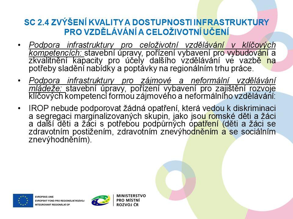 SC 2.4 ZVÝŠENÍ KVALITY A DOSTUPNOSTI INFRASTRUKTURY PRO VZDĚLÁVÁNÍ A CELOŽIVOTNÍ UČENÍ Podpora infrastruktury pro celoživotní vzdělávání v klíčových kompetencích: stavební úpravy, pořízení vybavení pro vybudování a zkvalitnění kapacity pro účely dalšího vzdělávání ve vazbě na potřeby sladění nabídky a poptávky na regionálním trhu práce.
