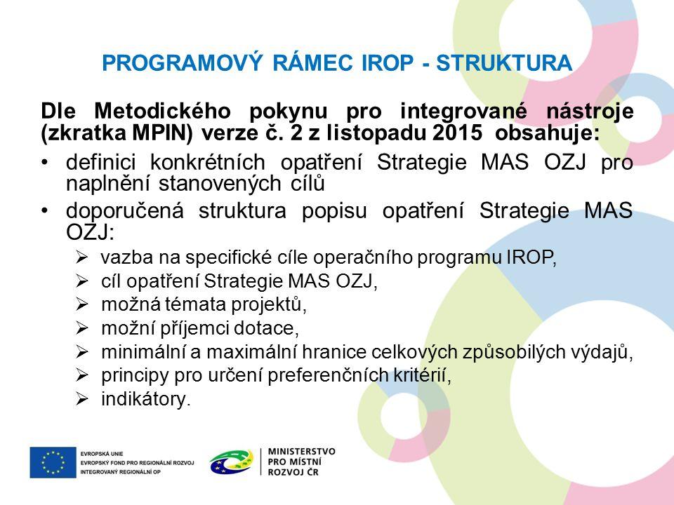 PROGRAMOVÝ RÁMEC IROP - STRUKTURA Dle Metodického pokynu pro integrované nástroje (zkratka MPIN) verze č. 2 z listopadu 2015 obsahuje: definici konkré