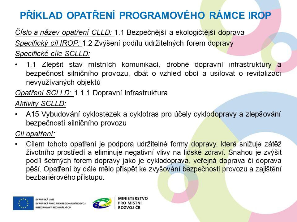 Číslo a název opatření CLLD: 1.1 Bezpečnější a ekologičtější doprava Specifický cíl IROP: 1.2 Zvýšení podílu udržitelných forem dopravy Specifické cíl