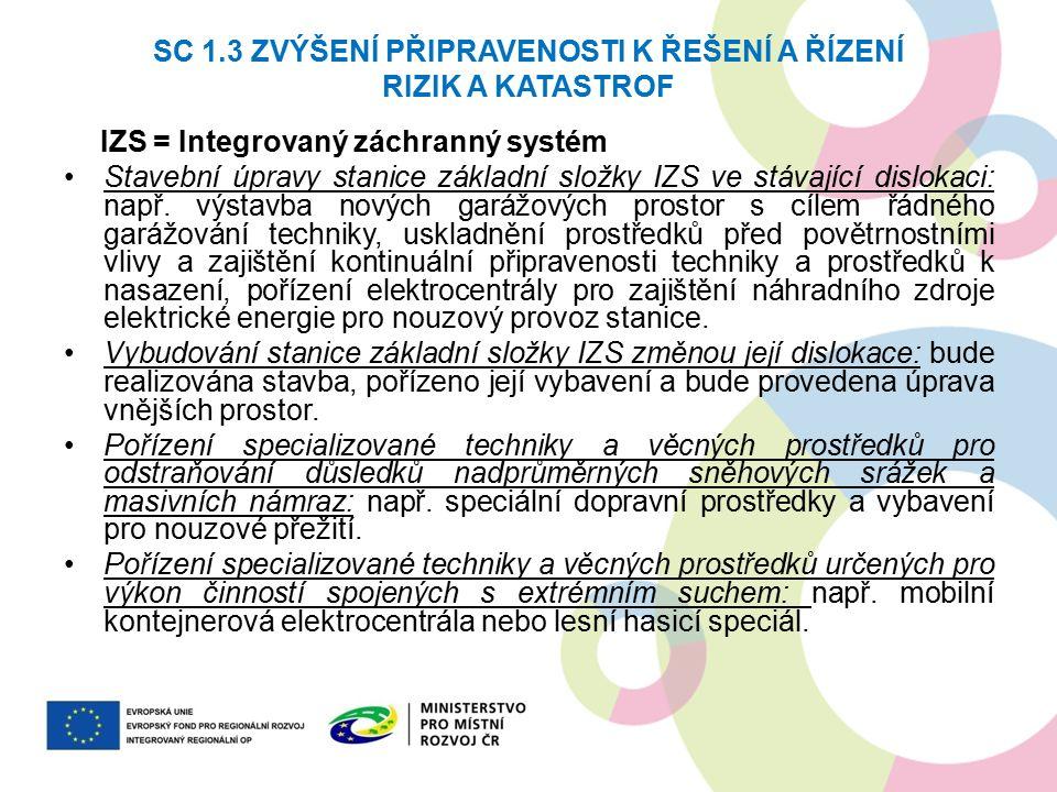 SC 1.3 ZVÝŠENÍ PŘIPRAVENOSTI K ŘEŠENÍ A ŘÍZENÍ RIZIK A KATASTROF IZS = Integrovaný záchranný systém Stavební úpravy stanice základní složky IZS ve stávající dislokaci: např.