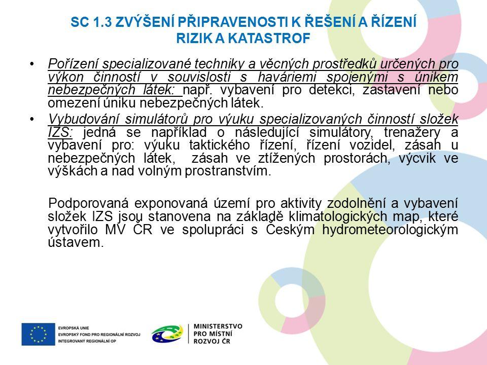 SC 1.3 ZVÝŠENÍ PŘIPRAVENOSTI K ŘEŠENÍ A ŘÍZENÍ RIZIK A KATASTROF Pořízení specializované techniky a věcných prostředků určených pro výkon činností v s