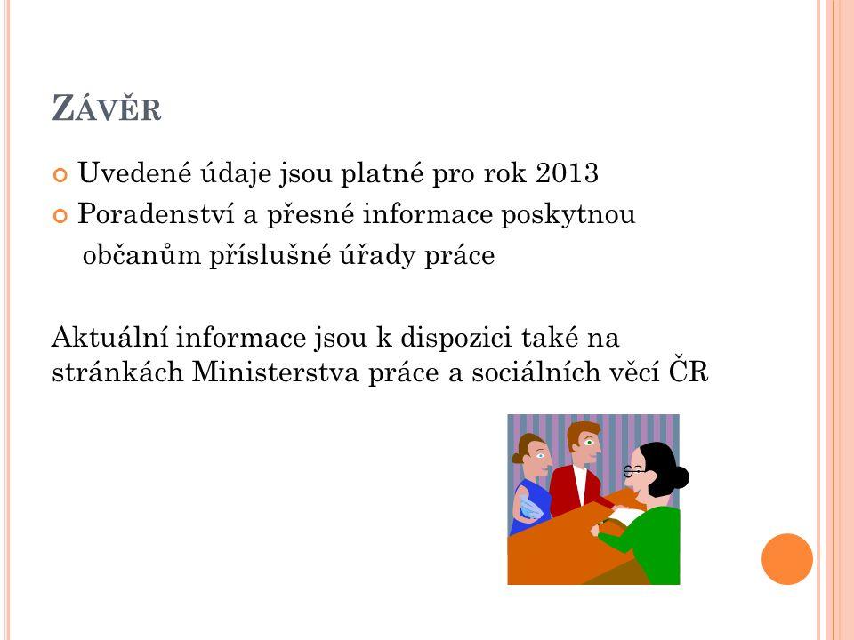 Z ÁVĚR Uvedené údaje jsou platné pro rok 2013 Poradenství a přesné informace poskytnou občanům příslušné úřady práce Aktuální informace jsou k dispozici také na stránkách Ministerstva práce a sociálních věcí ČR