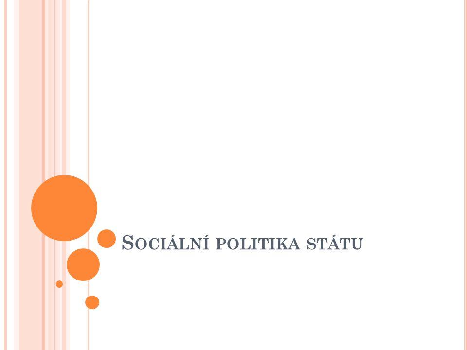 C ÍLE SOCIÁLNÍ POLITIKY - poskytnout občanům sociálním jistoty - umožnit jim přiměřený životní způsob a realizaci všech ústavou zaručených lidských a občanských práv - čelit sociálnímu a ekonomickému ohrožení - vytvářet příznivé podmínky pro rozvoj jedinců a sociálních skupin, zejména rodin