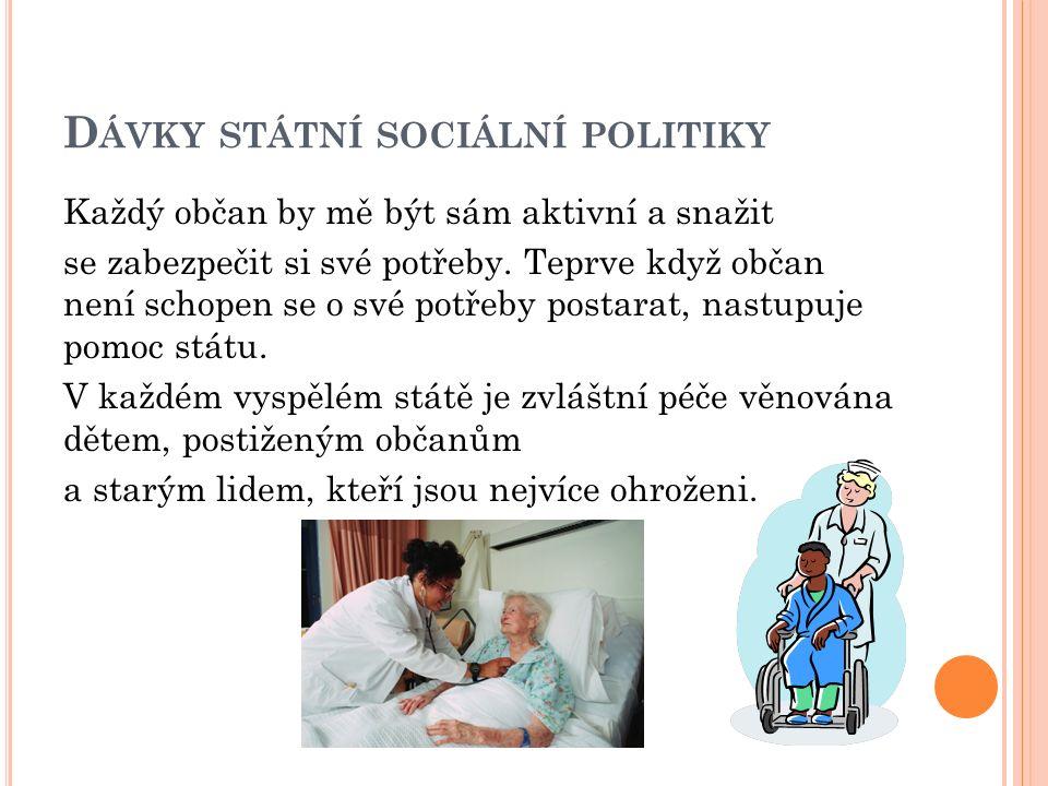 D ÁVKY STÁTNÍ SOCIÁLNÍ POLITIKY Každý občan by mě být sám aktivní a snažit se zabezpečit si své potřeby. Teprve když občan není schopen se o své potře