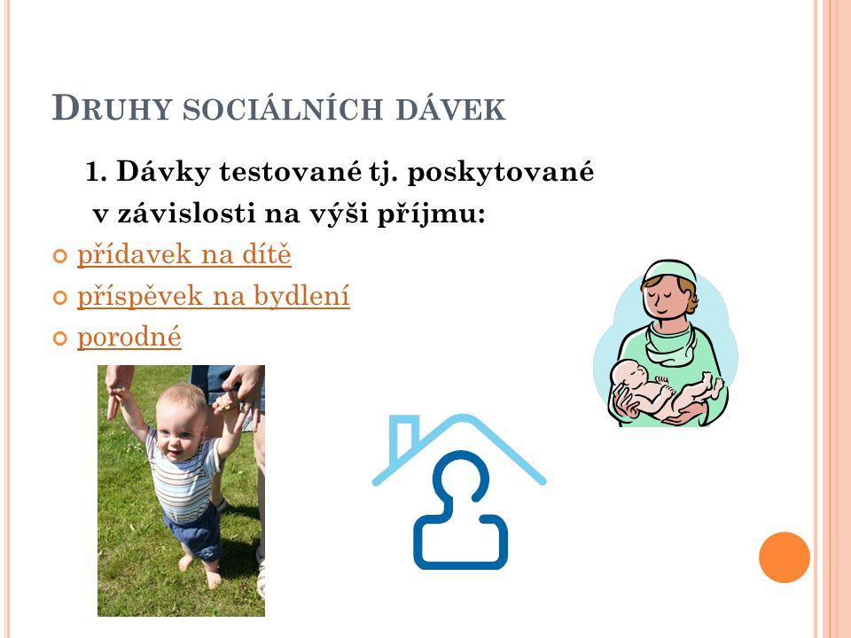 D RUHY SOCIÁLNÍCH DÁVEK 1. Dávky testované tj. poskytované v závislosti na výši příjmu: přídavek na dítě příspěvek na bydlení porodné