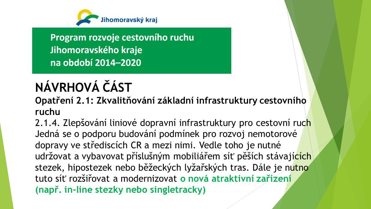 NÁVRHOVÁ ČÁST Opatření 2.1: Zkvalitňování základní infrastruktury cestovního ruchu 2.1.4. Zlepšování liniové dopravní infrastruktury pro cestovní ruch
