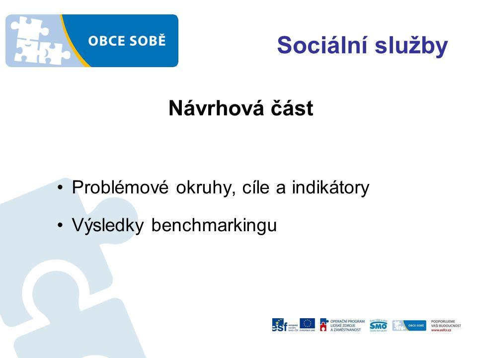 Sociální služby Návrhová část Problémové okruhy, cíle a indikátory Výsledky benchmarkingu