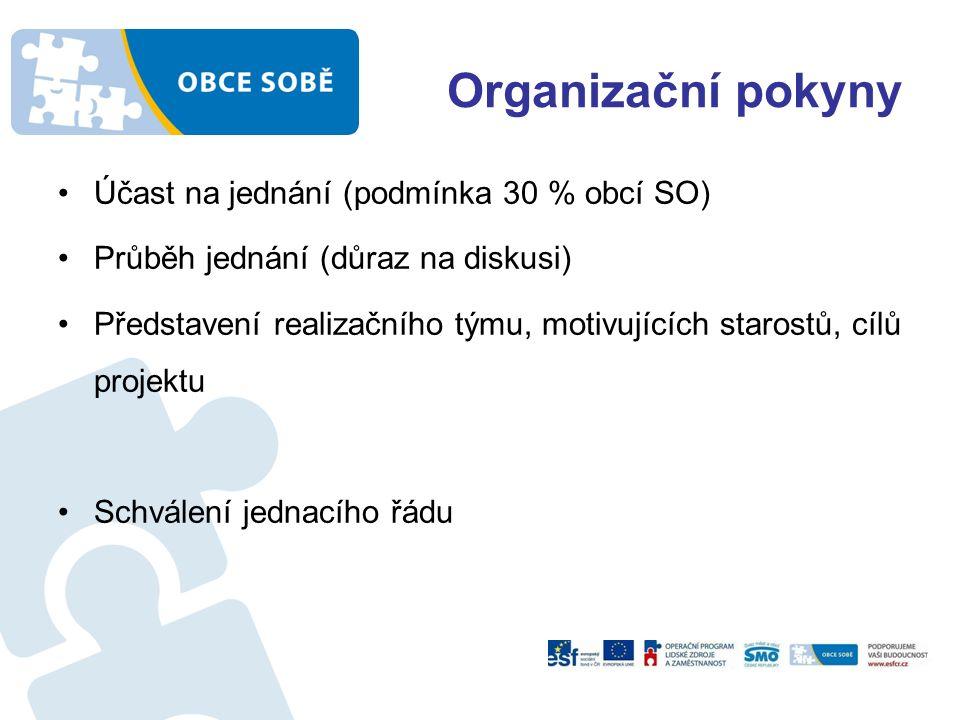 Organizační pokyny Účast na jednání (podmínka 30 % obcí SO) Průběh jednání (důraz na diskusi) Představení realizačního týmu, motivujících starostů, cílů projektu Schválení jednacího řádu