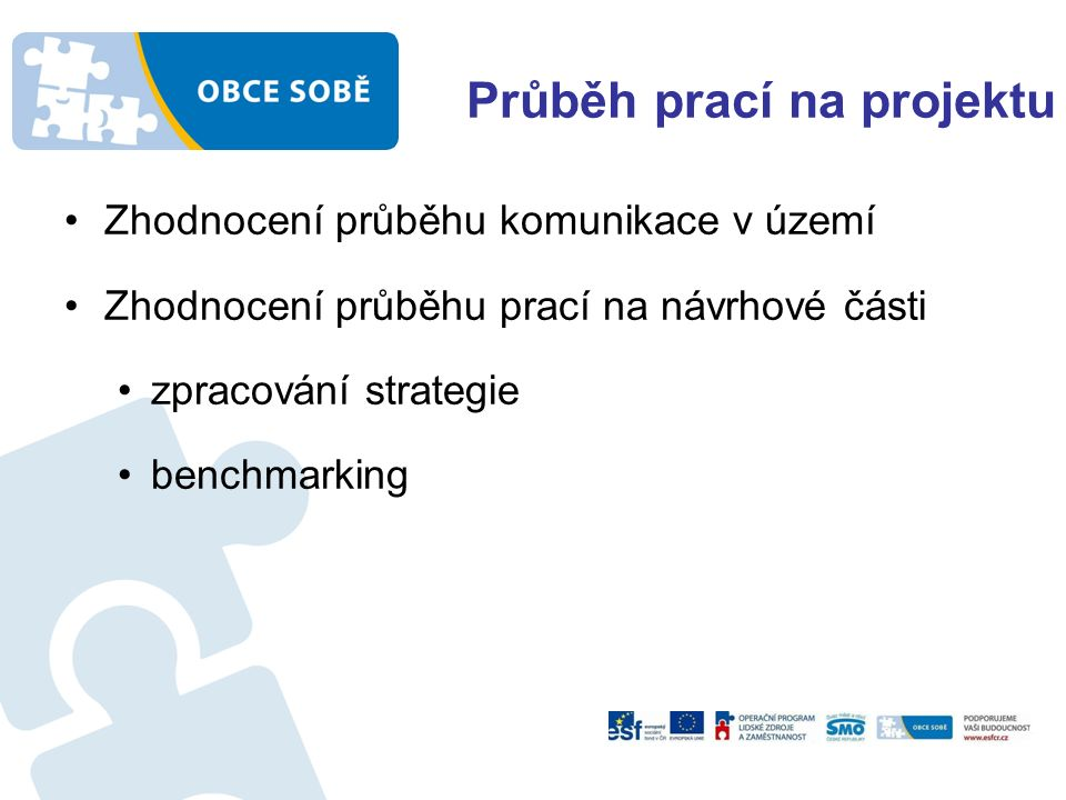 Průběh prací na projektu Zhodnocení průběhu komunikace v území Zhodnocení průběhu prací na návrhové části zpracování strategie benchmarking