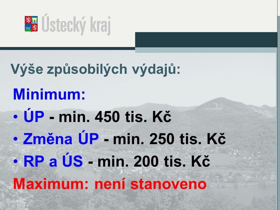 Výše způsobilých výdajů: Minimum: ÚP - min. 450 tis.