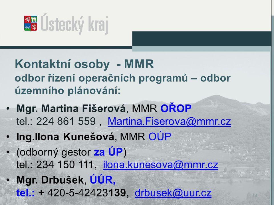 Kontaktní osoby - MMR odbor řízení operačních programů – odbor územního plánování: Mgr.