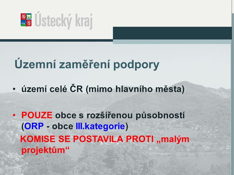 Typy podporovaných projektů územní plány (ORP), vč.