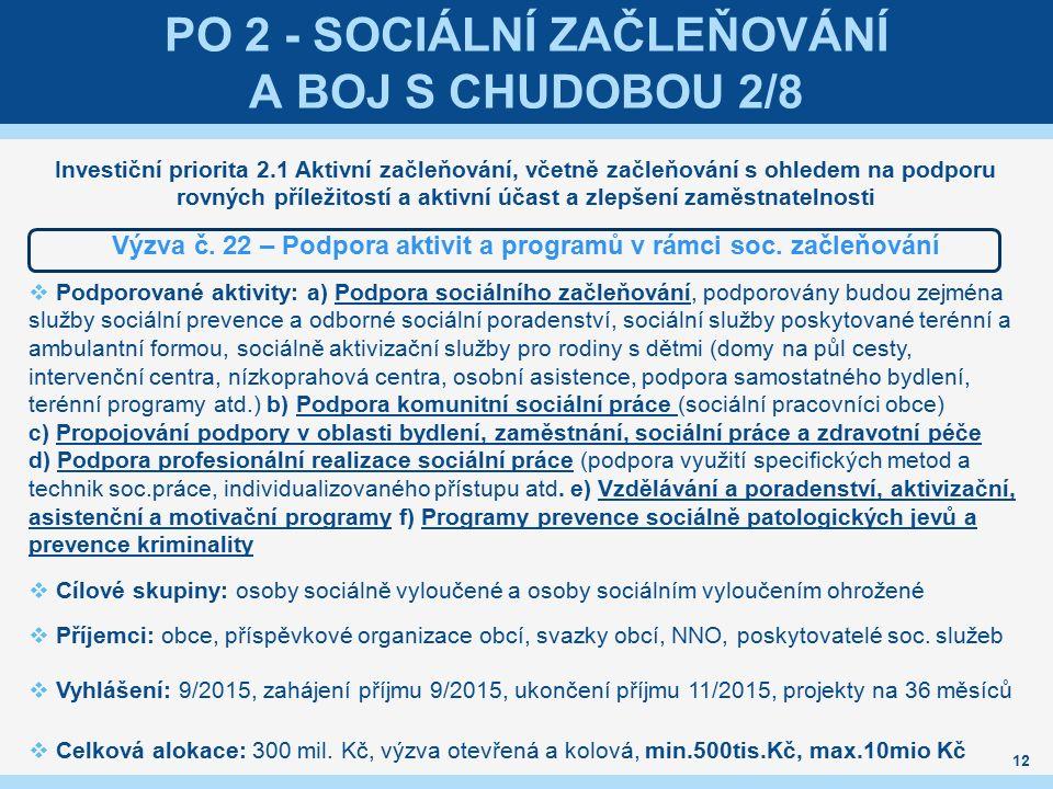 PO 2 - SOCIÁLNÍ ZAČLEŇOVÁNÍ A BOJ S CHUDOBOU 2/8 Investiční priorita 2.1 Aktivní začleňování, včetně začleňování s ohledem na podporu rovných příležitostí a aktivní účast a zlepšení zaměstnatelnosti Výzva č.