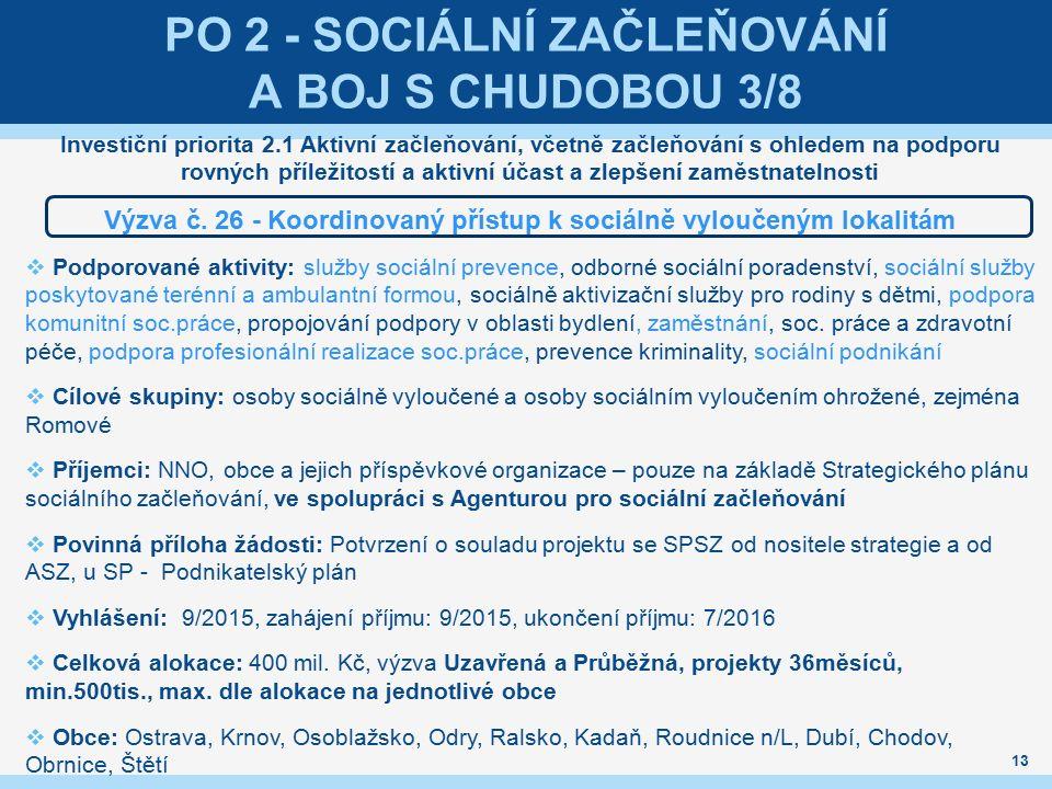 PO 2 - SOCIÁLNÍ ZAČLEŇOVÁNÍ A BOJ S CHUDOBOU 3/8 Investiční priorita 2.1 Aktivní začleňování, včetně začleňování s ohledem na podporu rovných příležitostí a aktivní účast a zlepšení zaměstnatelnosti Výzva č.