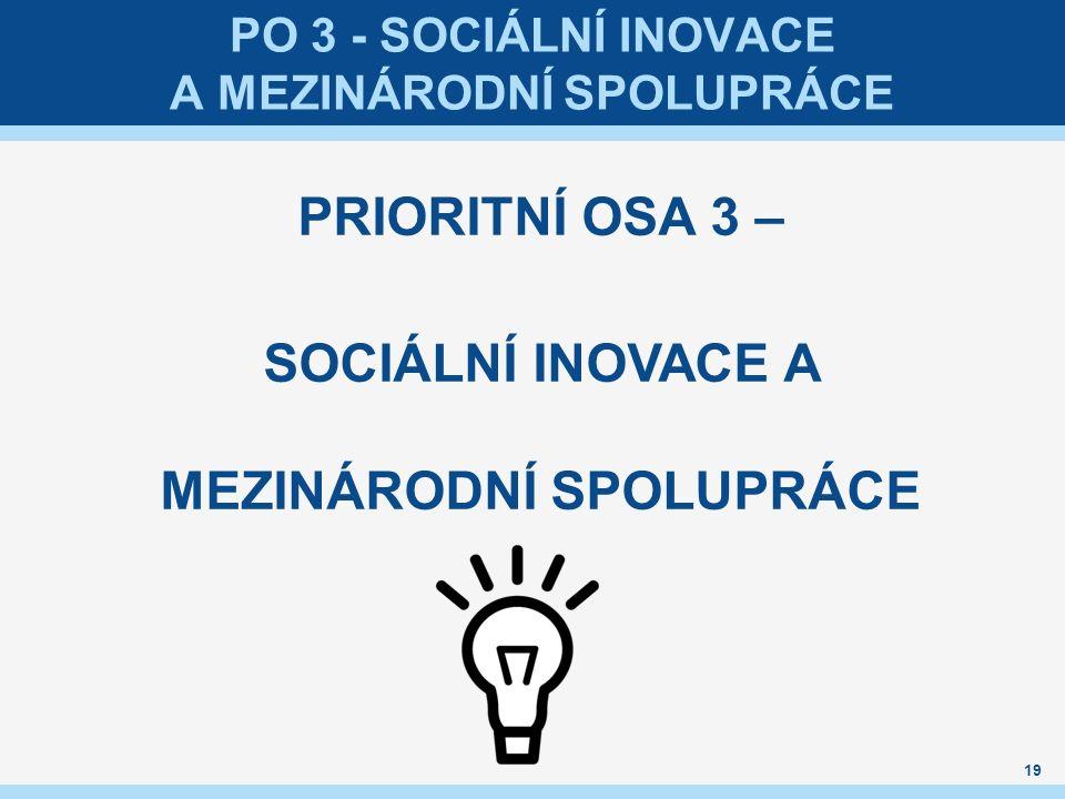PO 3 - SOCIÁLNÍ INOVACE A MEZINÁRODNÍ SPOLUPRÁCE PRIORITNÍ OSA 3 – SOCIÁLNÍ INOVACE A MEZINÁRODNÍ SPOLUPRÁCE 19