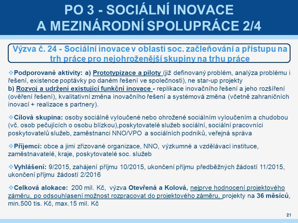 PO 3 - SOCIÁLNÍ INOVACE A MEZINÁRODNÍ SPOLUPRÁCE 2/4 Výzva č.