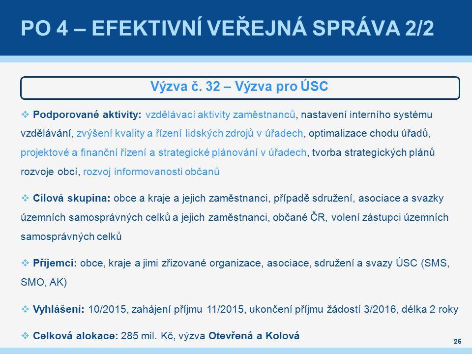 PO 4 – EFEKTIVNÍ VEŘEJNÁ SPRÁVA 2/2 Výzva č.