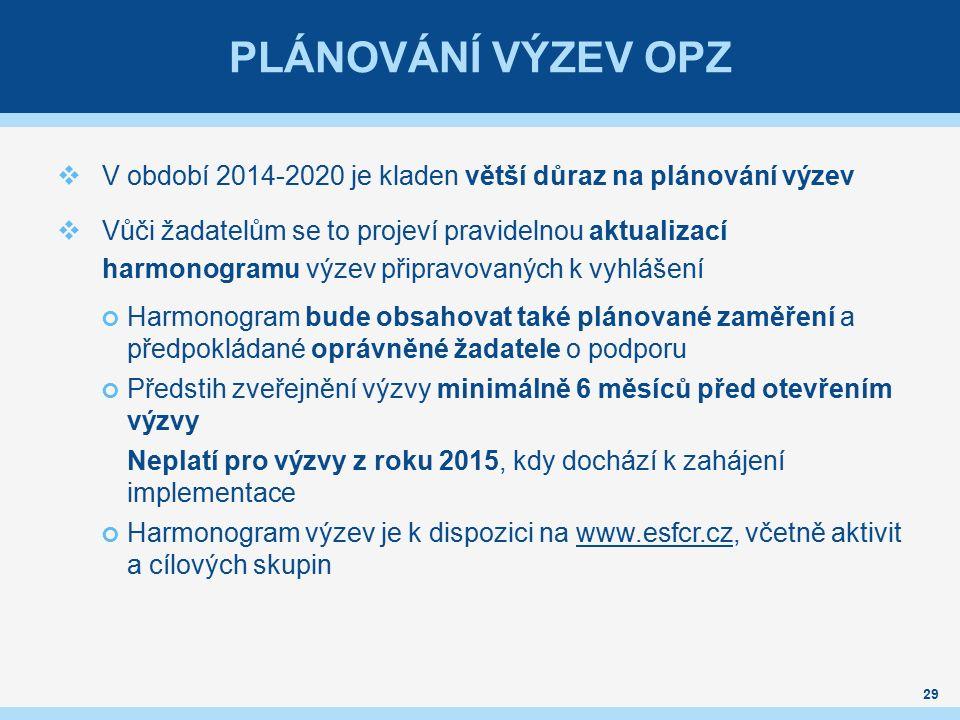 PLÁNOVÁNÍ VÝZEV OPZ  V období 2014-2020 je kladen větší důraz na plánování výzev  Vůči žadatelům se to projeví pravidelnou aktualizací harmonogramu výzev připravovaných k vyhlášení Harmonogram bude obsahovat také plánované zaměření a předpokládané oprávněné žadatele o podporu Předstih zveřejnění výzvy minimálně 6 měsíců před otevřením výzvy Neplatí pro výzvy z roku 2015, kdy dochází k zahájení implementace Harmonogram výzev je k dispozici na www.esfcr.cz, včetně aktivit a cílových skupinwww.esfcr.cz 29