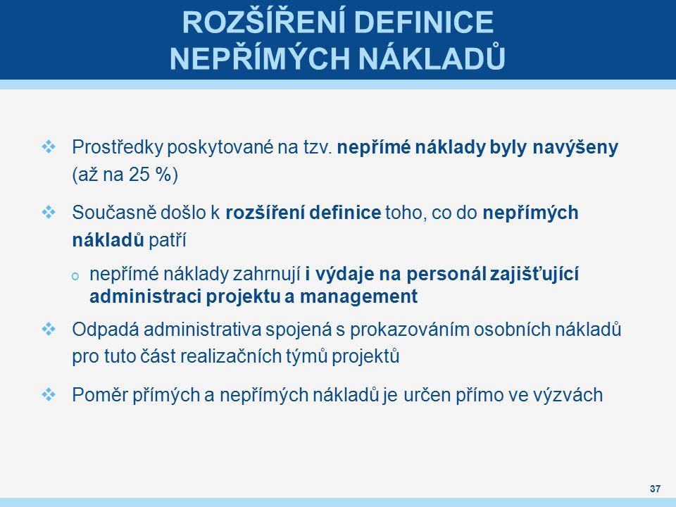 ROZŠÍŘENÍ DEFINICE NEPŘÍMÝCH NÁKLADŮ  Prostředky poskytované na tzv.