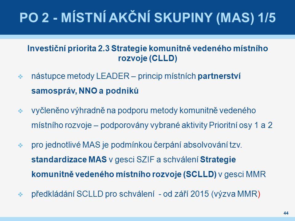 PO 2 - MÍSTNÍ AKČNÍ SKUPINY (MAS) 1/5 Investiční priorita 2.3 Strategie komunitně vedeného místního rozvoje (CLLD)  nástupce metody LEADER – princip místních partnerství samospráv, NNO a podniků  vyčleněno výhradně na podporu metody komunitně vedeného místního rozvoje – podporovány vybrané aktivity Prioritní osy 1 a 2  pro jednotlivé MAS je podmínkou čerpání absolvování tzv.