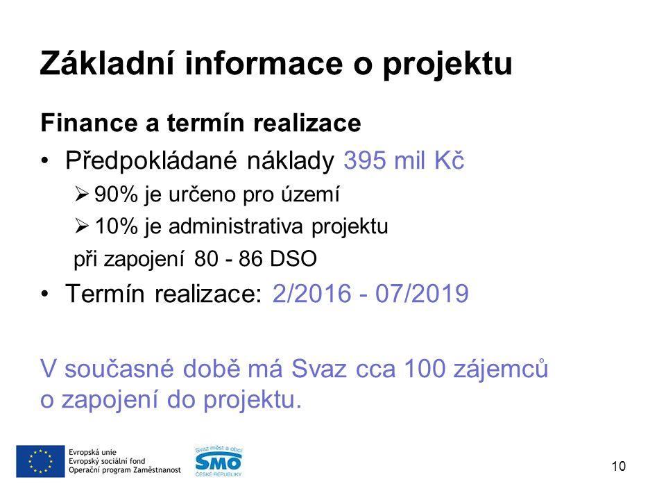Základní informace o projektu Finance a termín realizace Předpokládané náklady 395 mil Kč  90% je určeno pro území  10% je administrativa projektu při zapojení 80 - 86 DSO Termín realizace: 2/2016 - 07/2019 V současné době má Svaz cca 100 zájemců o zapojení do projektu.