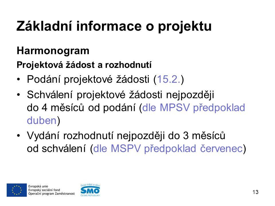 Základní informace o projektu Harmonogram Projektová žádost a rozhodnutí Podání projektové žádosti (15.2.) Schválení projektové žádosti nejpozději do 4 měsíců od podání (dle MPSV předpoklad duben) Vydání rozhodnutí nejpozději do 3 měsíců od schválení (dle MSPV předpoklad červenec) 13