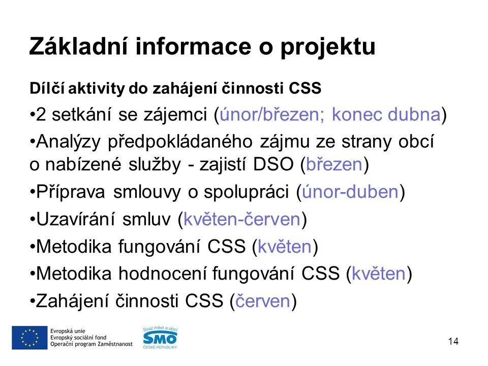 Základní informace o projektu Dílčí aktivity do zahájení činnosti CSS 2 setkání se zájemci (únor/březen; konec dubna) Analýzy předpokládaného zájmu ze strany obcí o nabízené služby - zajistí DSO (březen) Příprava smlouvy o spolupráci (únor-duben) Uzavírání smluv (květen-červen) Metodika fungování CSS (květen) Metodika hodnocení fungování CSS (květen) Zahájení činnosti CSS (červen) 14