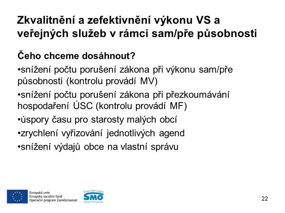 Zkvalitnění a zefektivnění výkonu VS a veřejných služeb v rámci sam/pře působnosti Čeho chceme dosáhnout.