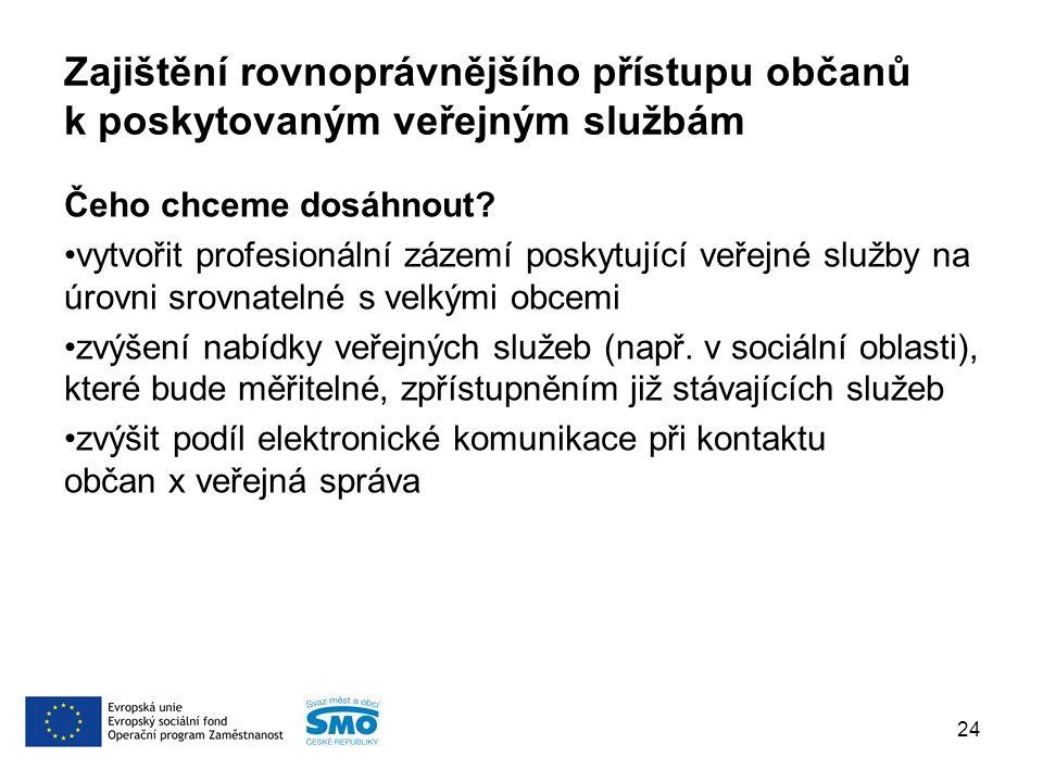 Zajištění rovnoprávnějšího přístupu občanů k poskytovaným veřejným službám Čeho chceme dosáhnout.