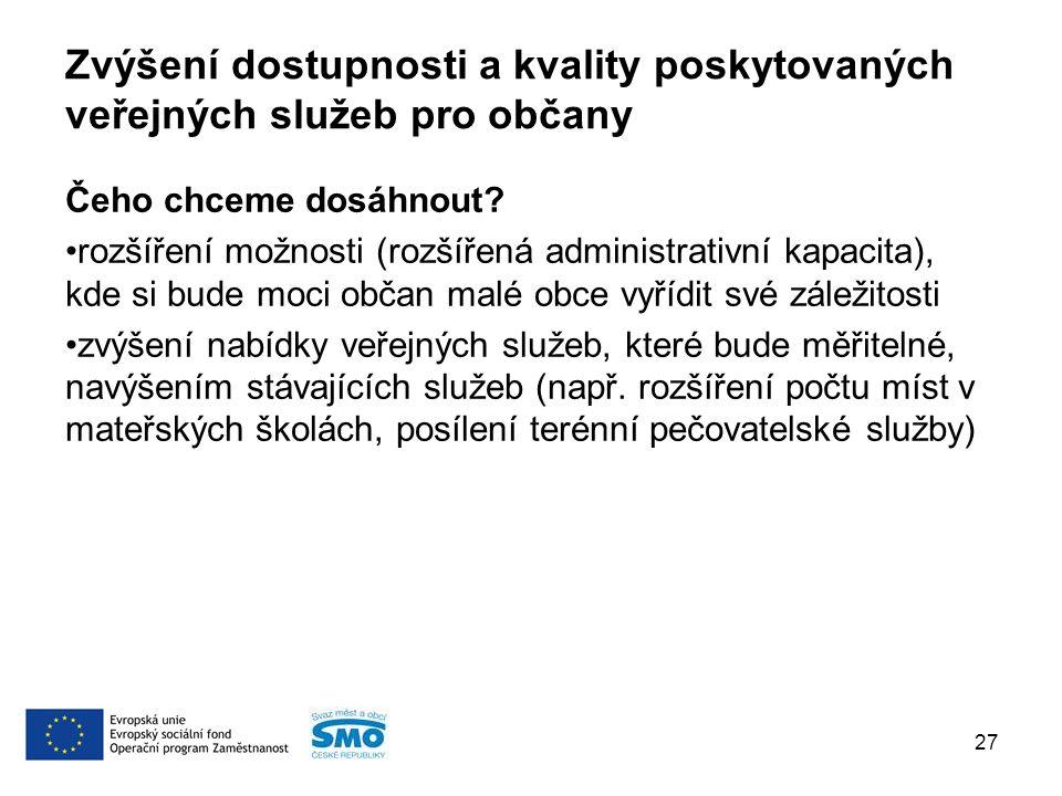 Zvýšení dostupnosti a kvality poskytovaných veřejných služeb pro občany Čeho chceme dosáhnout.