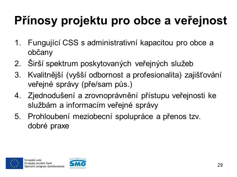 Přínosy projektu pro obce a veřejnost 1.Fungující CSS s administrativní kapacitou pro obce a občany 2.Širší spektrum poskytovaných veřejných služeb 3.Kvalitnější (vyšší odbornost a profesionalita) zajišťování veřejné správy (pře/sam půs.) 4.Zjednodušení a zrovnoprávnění přístupu veřejnosti ke službám a informacím veřejné správy 5.Prohloubení meziobecní spolupráce a přenos tzv.