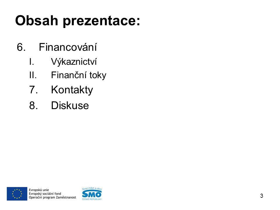 6.Financování I.Výkaznictví II.Finanční toky 7.Kontakty 8.Diskuse 3 Obsah prezentace: