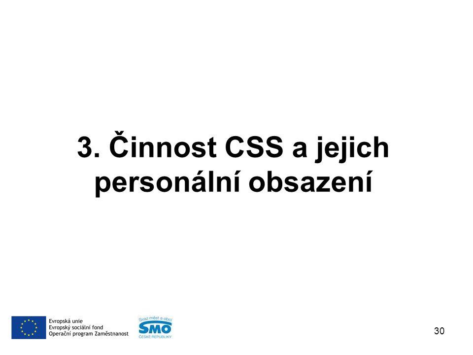 3. Činnost CSS a jejich personální obsazení 30
