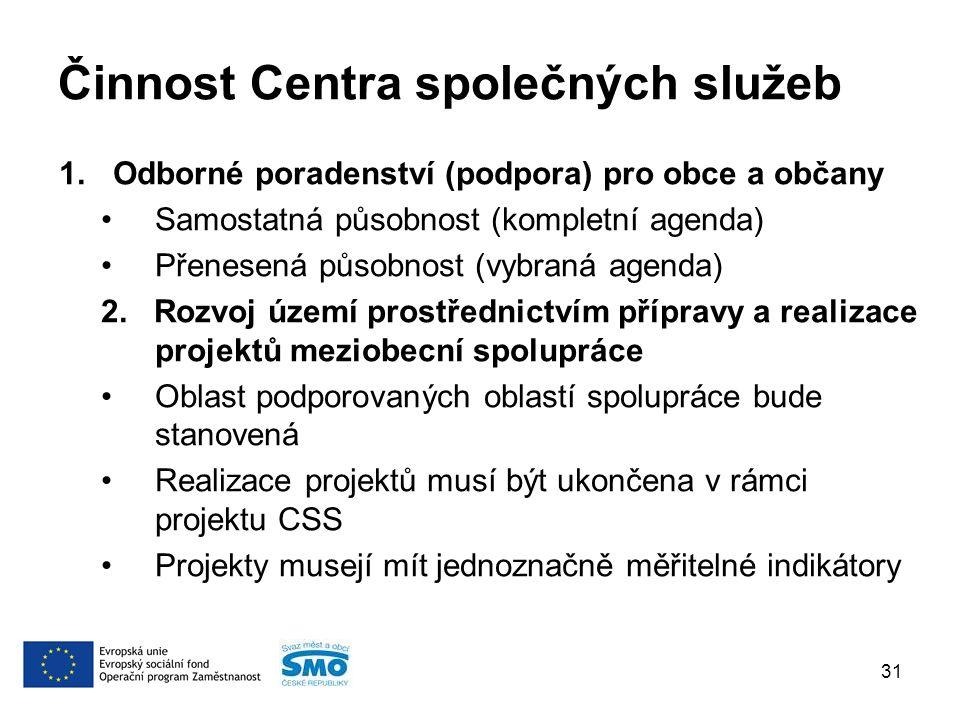 Činnost Centra společných služeb 1.Odborné poradenství (podpora) pro obce a občany Samostatná působnost (kompletní agenda) Přenesená působnost (vybraná agenda) 2.