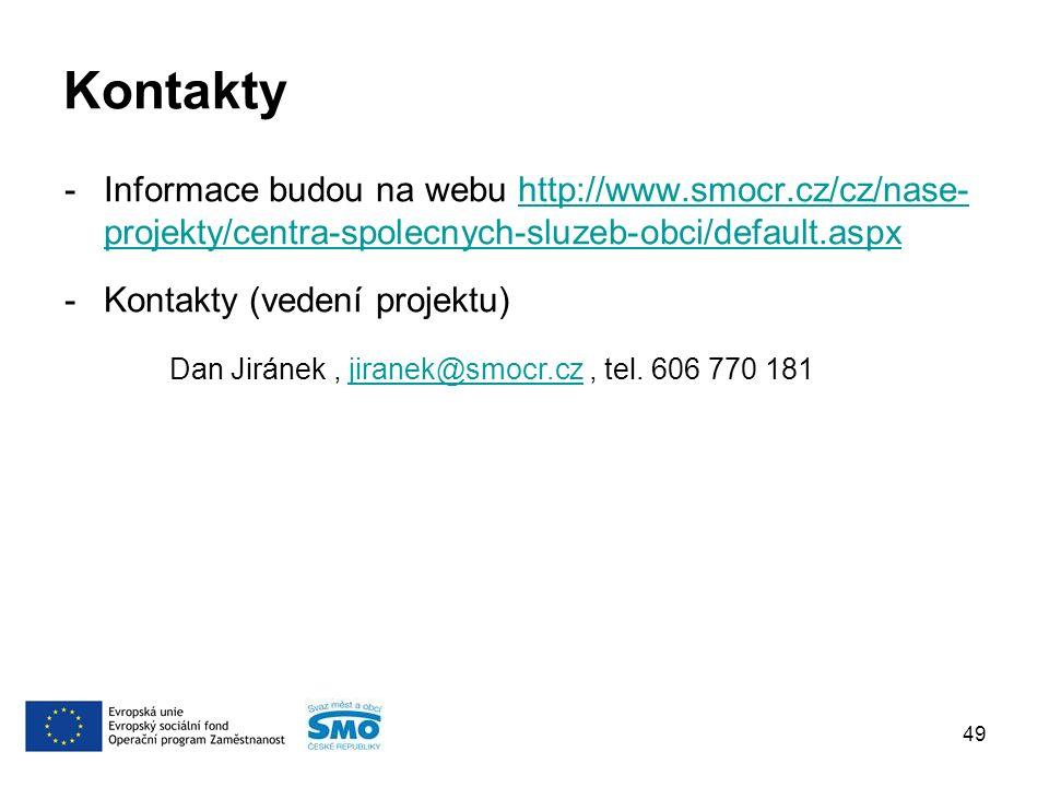 Kontakty -Informace budou na webu http://www.smocr.cz/cz/nase- projekty/centra-spolecnych-sluzeb-obci/default.aspxhttp://www.smocr.cz/cz/nase- projekty/centra-spolecnych-sluzeb-obci/default.aspx -Kontakty (vedení projektu) Dan Jiránek, jiranek@smocr.cz, tel.